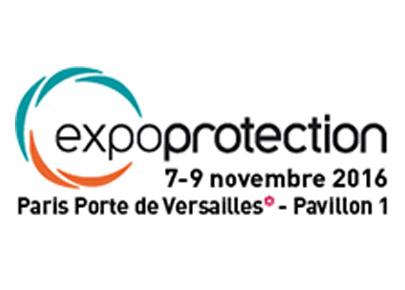 Logo d'expoprotection, un salon de la gestion et de la prévention des risques qui se déroule du 7 au 9 novembre 2016 au Pavillon 1 de Paris Porte de Versailles.