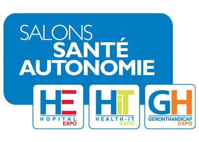 Annonce des salons de la santé et autonomie avec 3 logos. Hopital Expo, Health-it Expo et Geronthandicap Expo.