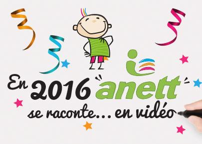 """La mascotte Anett est heureuse. Dessous celle-ci est écrit """"En 2016 anett se raconte... en vidéo"""""""