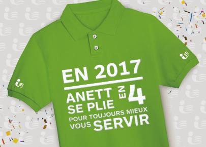 """Polo Anett où il est écrit """"En 2017, Anett se plie en 4 pour toujours mieux vous servir"""". Cette image le service de location et d'entretien."""