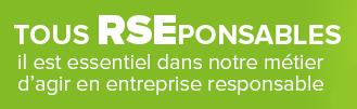 """Image avec un texte """"Tous RSEponsables il est essentiel dans notre métier d'agir en entreprise responsable."""". Anett montre son adhésion à la Responsabilité Sociétale des Entreprises (RSE)."""