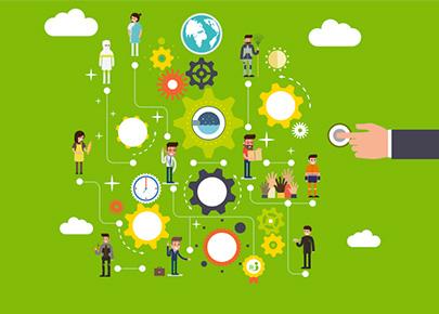 Pictogrammes présentant tous les domaines professionnels d'intervention d'anett. Santé, agroalimentaire, paysagisme, collectivités, restauration, artisanat, hygiène.